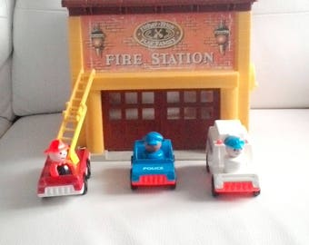 Vintage Fisher Price Play Family Fire Station House with 1 fire truck police car and ambulance