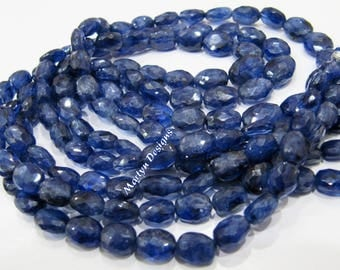 Top and Finest Quality Genuine Blue Sapphire Briolette Beads 5x7 to 8x11mm , Natural Blue Sapphire Oval Faceted Beads , Strand 8 inch long.