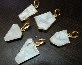 SALE- Natural White Agate Slice Pendant Free Form , Connector Charm With 24 kt Gold Electroplated Edge , Single Loop 1 inches approximately.