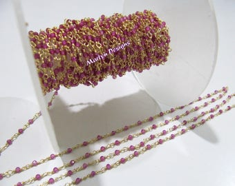 1 FOOT- High Quality Fancy Ruby Rondelle Faceted Beaded Chain , 2mm Lab Created Ruby Beads Rosary Chain , Wire Wrapped Beaded Chain.