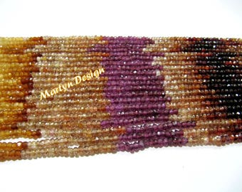 Super Fine Quality Natural Tundra Sapphire Beads , Multi Color Rondelle Faceted Beads Size 3mm ,  Strand of 15 inches Long