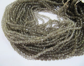 AAA Quality Natural Genuine Smoky Quartz Round Faceted Beads , 4mm Ball Shape Smoky Beads , Strand 14 Inches Long , Gemstone Beads