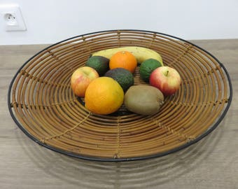 Very large rattan and metal fruit basket lacquered black mid century 1960's 1970 '60s 70's vintage french rattan and metal fruit basket