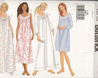 Ladys Nightgowns, Sleepwear, Sizes L Thru XL, New Butterick Pattern 6838