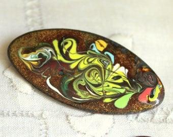 Vintage Copper Enamel Brooch, Modern Art Pin, Vintage Jewelry, Copper Pin, Enamel Pin, Mid Century Pin, Mid Century Brooch