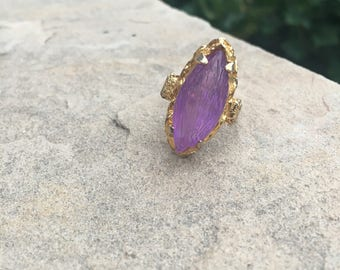 Vintage Gold and Purple Costume Jewelry Ring