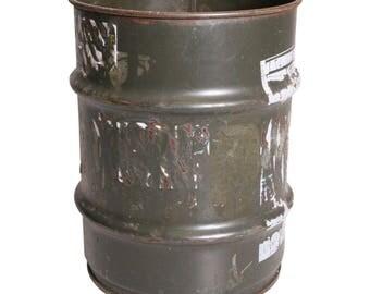 Vintage MILITARY BARREL army metal trash can waste bin green oil drum steampunk OD olive drab round hamper storage holder keeper garage old