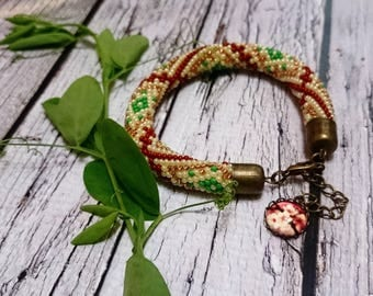 yellow green brown ethnic bracelet seed bead jewelry crochet spiral rope beaded bracelet seed beads crochet beaded bracelet beadweaving