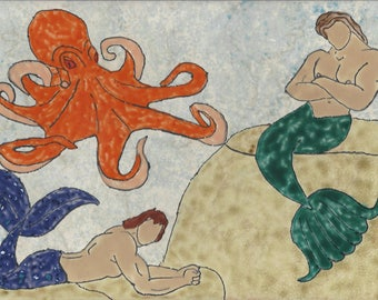 Mermen with Octopus Hand Painted Kiln Fired Decorative Ceramic Wall Art Tile 8 x 12