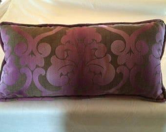 purple and brown damask lumbar pillow
