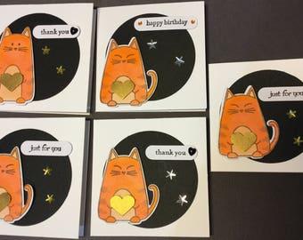 Ginger cat mini gift cards