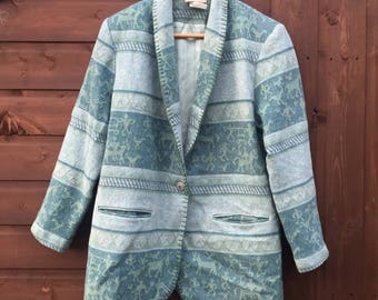 vintage 70s cold water creek turquoise casual lined jacket UK medium