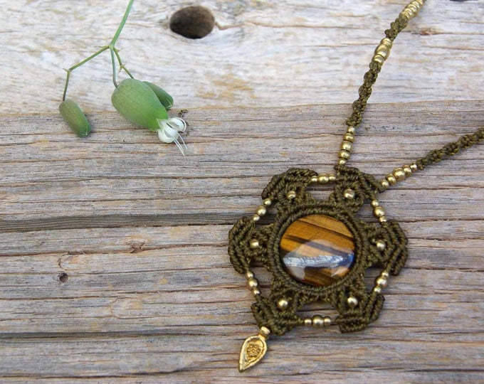 Macrame Mandala, with tiger eye, brass beads, goddess necklace, adjustable, fairy necklace, ethnic jewelry, stone talisman, fairy necklace