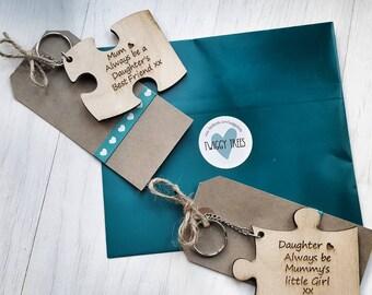 Jigsaw 2 piece set Mother/Daughter - little Girl/ Best friend Keyring Gift Set