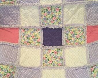 Baby Rag Quilt, Baby Girl Quilt, Toddler Blanket, Baby Blanket, Rag Quilt, Purple, Pink, Floral