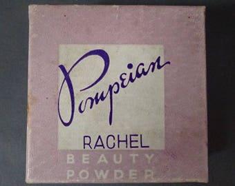 Vintage 1940s/40s 1950s/50s Pompeian FACE POWDER BOX with Leaflet Boudoir Display