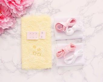 DIY Underwire Bra Kit Pale Yellow Pink White