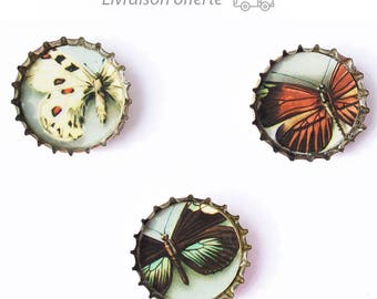 Upcycled Butterfly bottle cap magnets-magnets set
