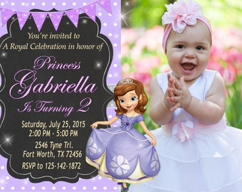 Sofia the First Invitation, Sofia the First Birthday, Sofia the First Party