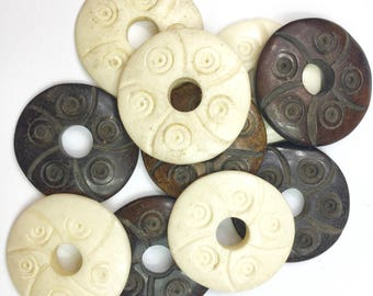 Carved Bone Donut Beads
