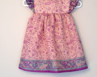 Size 6-12 month baby dress; Silk toddler dress; pink baby dress; ruffled dress; baby birthday dress
