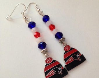 New England Patriots Inspired Earrings, Patriots Inspired Earrings, New England Patriots Inspired Jewelry, Ships From USA