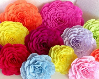 10 Photo backdrop giant paper flowers decor Cinco de Mayo hawaiian Luau Fiesta wedding Mexican nursery baby shower Bollywood Mandap party
