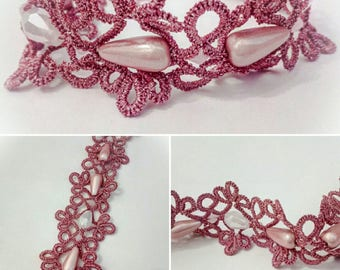 Tatting Bracelet Pink With Crystals