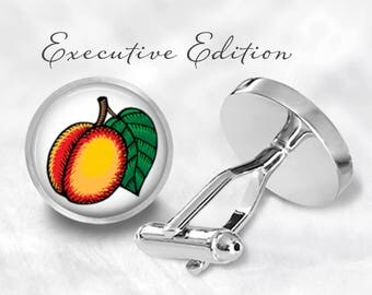 Peach Cufflinks - Peach Fruit Cuff Links - Peaches Cuff Links (Pair) Lifetime Guarantee (S0995)