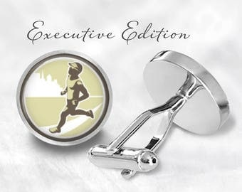 Runner Cufflinks - Running Cuff Links - Marathon Cufflink (Pair) Lifetime Guarantee (S1123)
