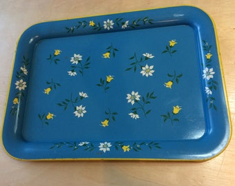Vintage Metal Floral Tray, Blue, White, and Yellow Rectangle Tray