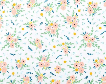 Fresh Dew Blooming Bouquet Pink and White Floral print by Paula & Waffle for Dear Stella Fabrics