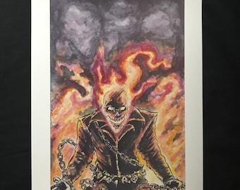 Ghost Rider Comic Watercolor Print