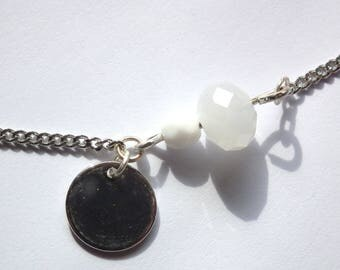 Bracelet silver and white glass powder and White Pearl
