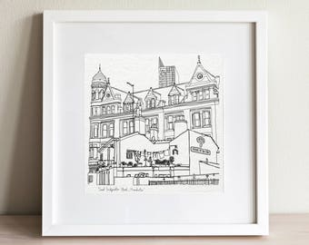Manchester Great Bridgewater street Doodle Print - square -