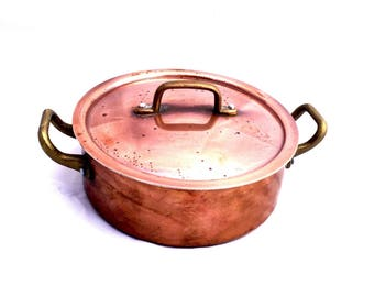 SALE Copper lidded pot brass handled vintage country rustic kitchen decor copper cooking pot restaurant grade cooking