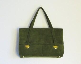 SALE 15% OFF Vintage 80s Moss-Green Suede Handbag/Purse