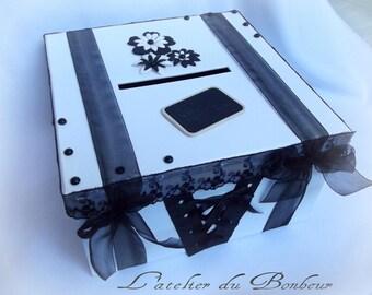 black and white Gothic style wedding urn