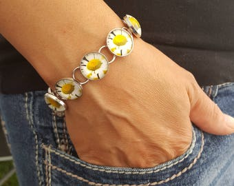 Daisy Bracelet in Silver Square Setting with Round Glass Cabochon Daisy Jewelry Flower Jewelry Photo Jewelry Photo Bracelet Nature Photo