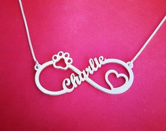 Dog Paw Infinity Necklace Dog Lover Necklace Infinity Heart Necklace Infinity With Paw Necklace