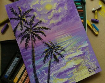 Palm Tree decor Purple painting art Original Pastel landscape painting Ocean Beach art Tahitian fantasy painting Traveller|gift Purple decor