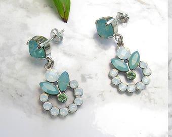 Opal Earrings,Bridal Opal Earrings,Gift For Her,Opal Dangle Earrings,Silver Earring,Bridal Chandelier Earrings,Swarovski Earring