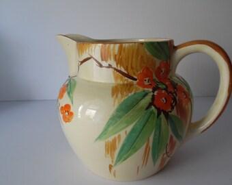 Large vintage pottery Jug. Hand painted vintage Jug. Flower Jug. Handpainted 1940s pottery Jug.