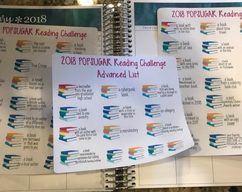 2018 popsugar reading challenge planner stickers -  stickers for planners, journals, scrapbooks and more!