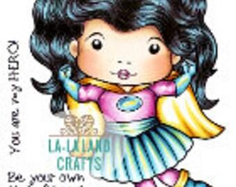 Lala Land Super Hero Marci Rubber Stamp