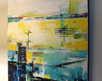 Contemporary mid-century modern funky abstract art