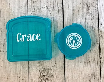 Sandwich and Snack Lunch Set - Personalized Sandwich Container - Snack Container - Back to School Lunch Box - Monogrammed School Supplies