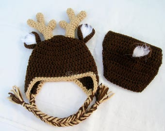 Baby Deer Outfit/Crochet Deer Set/Baby Deer Costume/Reindeer Hat with Ear Flaps/Deer Hat/Crochet Deer Hat/Baby Deer Set/Crochet Deer Outfit