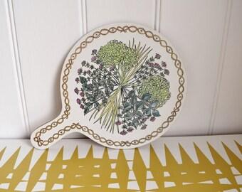 Vintage Taunton Vale Bouquet Garni herbs design Chopping board. Retro Kitchen & Dining