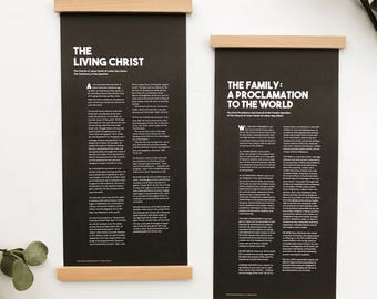 The Living Christ and The Family Proclamation (wood print rails included!) black, LDS art, modern typography design, letters and laurels